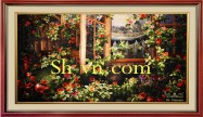 Silk embroidery art 'Garden of Roses (2130)'