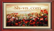 Silk embroidery art 'Poppies (1041)'