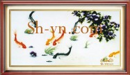 Feng shui hand embroidery 'Lotus and carp (2369)'