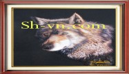 Feng shui hand embroidery 'Wild dog (2484)'