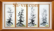 Folding screen hand embroidered 'Set Plum tree and the bamboo (1141)'