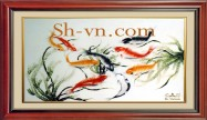 Koi fish hand embroierdy 'Happy koi fish (2084)'