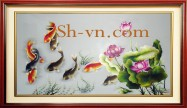 Koi fish hand embroierdy 'Happy koi fish (1096)'