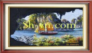 Landscapes hand embroidery 'Halong bay vietnam (2441)'