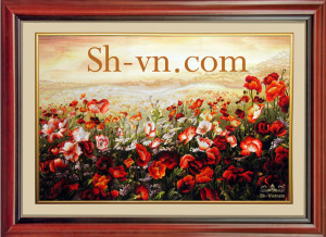 Lotus-hand-embroidery-Poppies 41-SHVN 1041-130cm x 210cm (2)