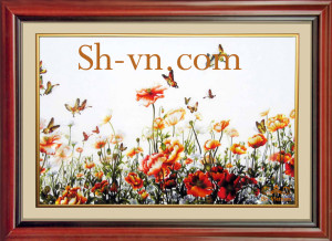 Roses-hand-embroidery=Poppies 32= - SHVN 2032 - 80cm x 120cm (2)